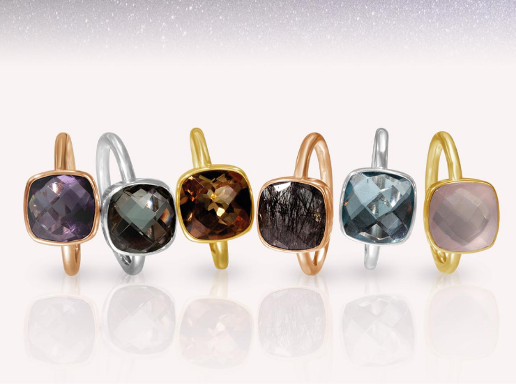 Gold and Silver Gemstone Stacking Rings