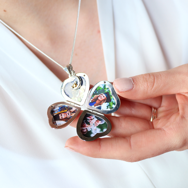 Graduation Gifts For Her - Four Photo Heart Charm Locket