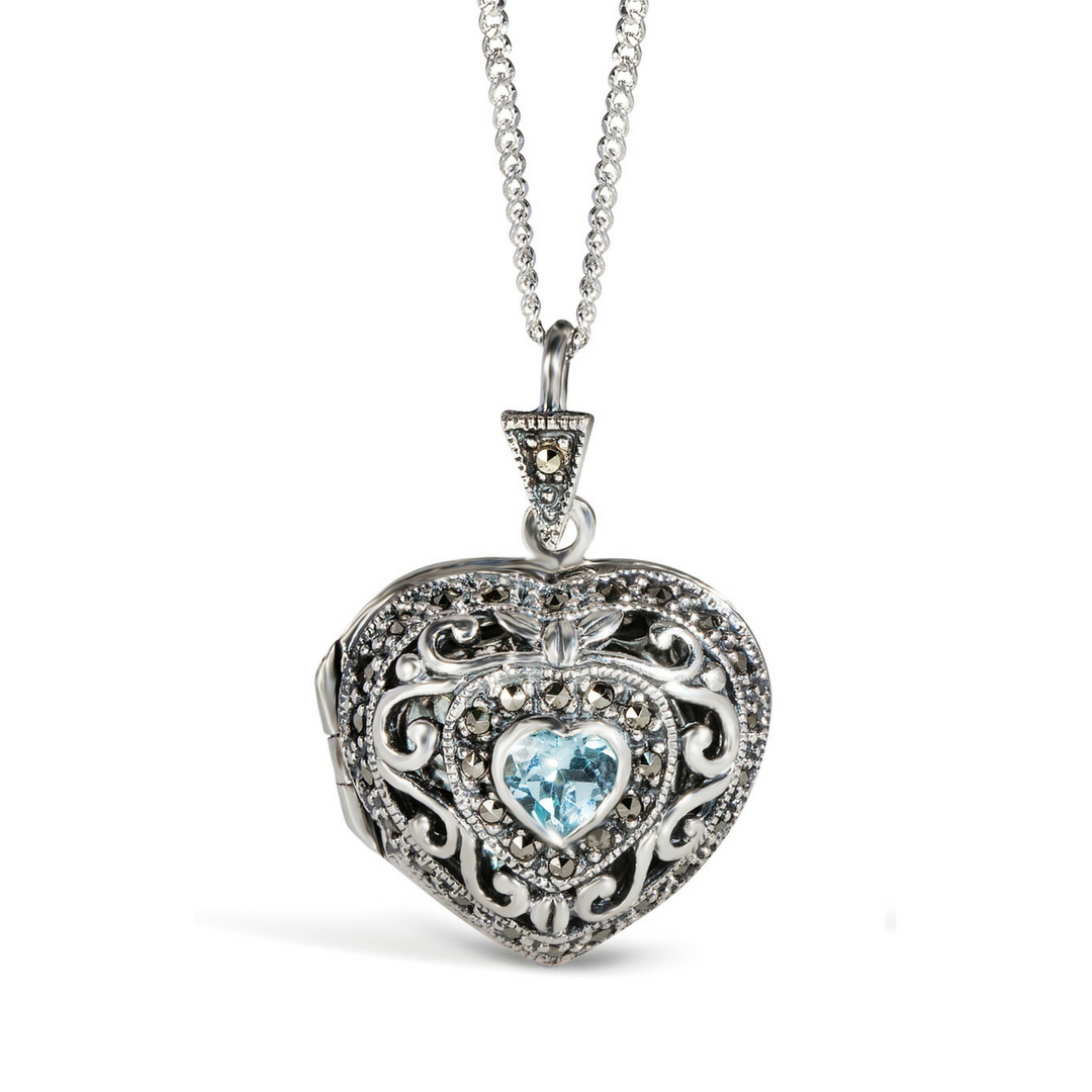 Lily Blanche Vintage Heart Locket In Blue Topaz