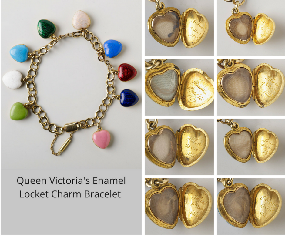 Queen Victoria's Enamel Heart Charm Bracelet containing the locks of hair of her children