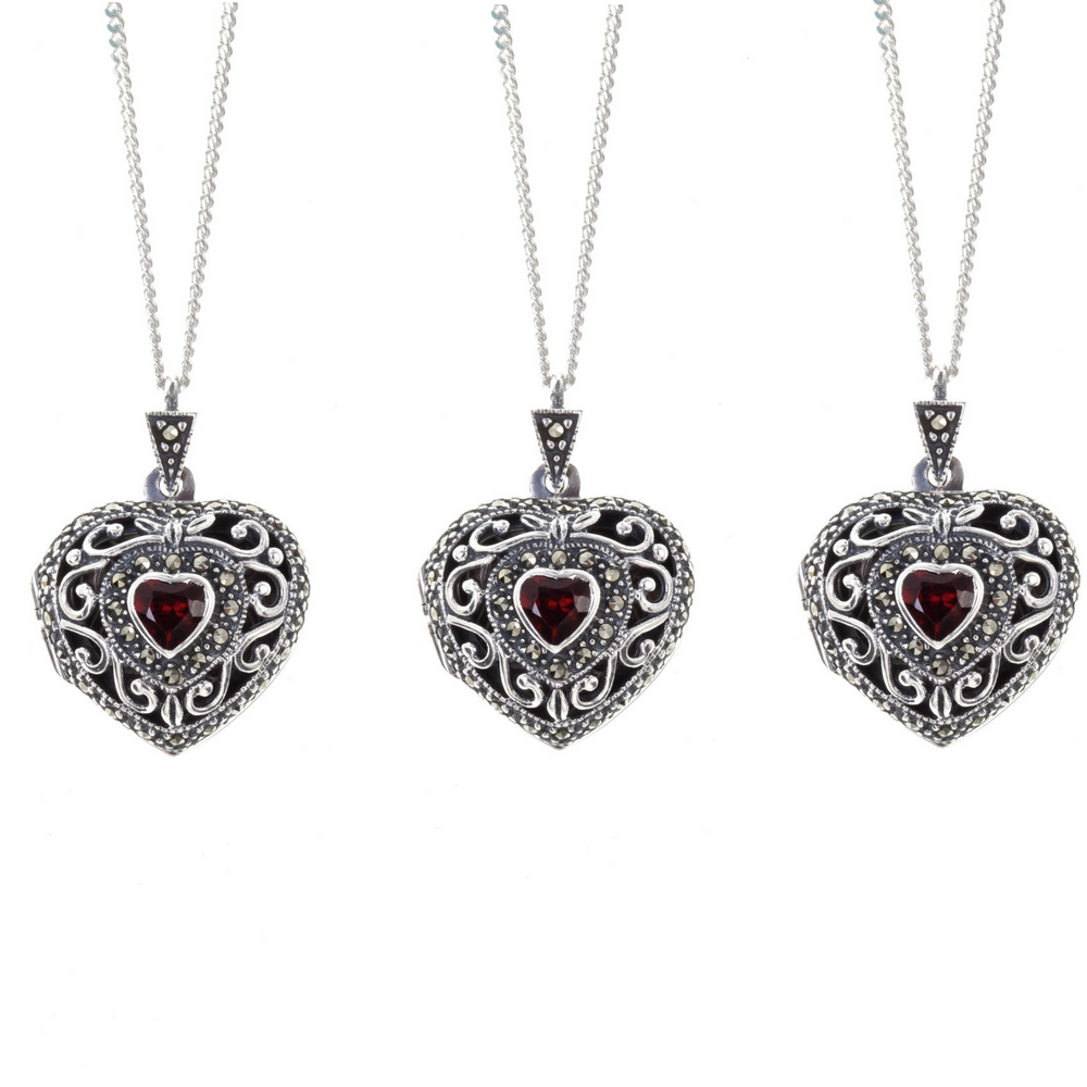 The Lily Blanche Garnet Vintage heart Locket