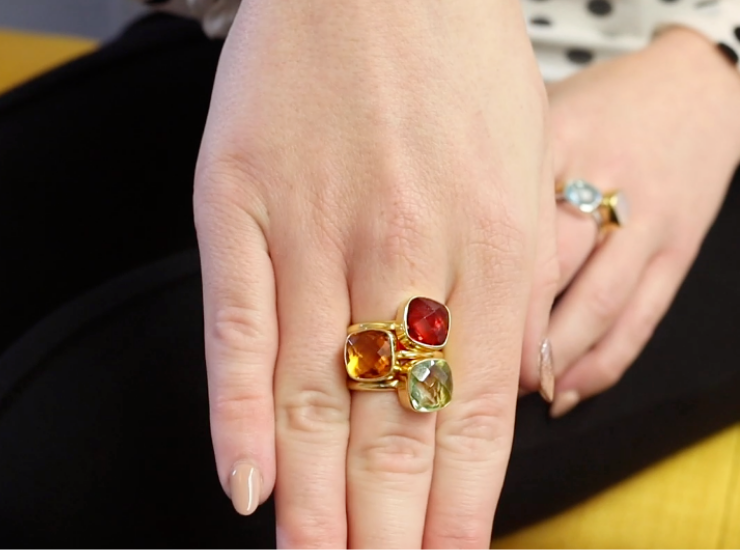 Gold Gemstone Stacking Rings Garnet Green Amethyst Citrine